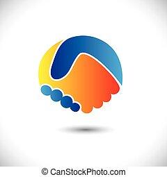 представлять, концепция, люди, shake., партнерство, &, -, gestures, также, единство, новый, дружба, бизнес, иллюстрация, рука, friends, значок, графический, это, приветствие, доверять, и т.д, вектор, можно, или