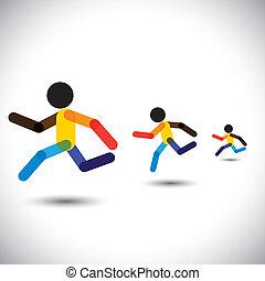 представлять, человек, абстрактные, спринт, обучение, cardio, icons, выигрыш, также, здоровье, гоночный, красочный, вызов, бег, workouts, графический, марафон, это, competition., и т.д, вектор, можно, спортсмены