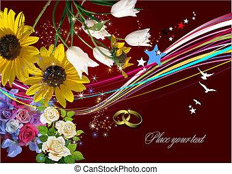 приглашение, вектор, свадьба, карта, приветствие, card., illustration.