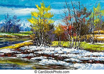 пригород, дерево, зима