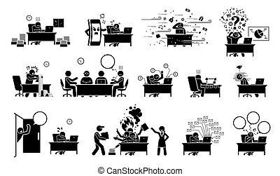 придерживаться, icons., pictogram, или, фигура, бизнесмен, должностное лицо, работник, офис, ceo, занятый