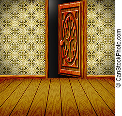 приоткрытый, дверь, комната