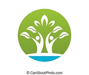 природа, люди, вектор, здоровье, шаблон, логотип