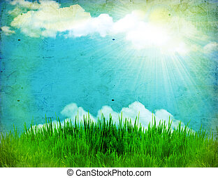 природа, марочный, зеленый, задний план, солнце, трава
