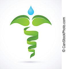 природа, медицинская, -, зеленый, кадуцей, лекарственное средство, альтернатива, символ
