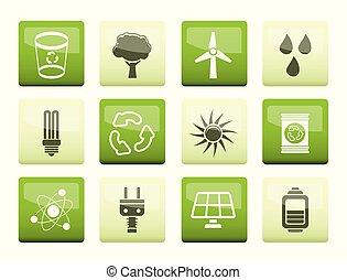 природа, экология, энергия, icons, зеленый, задний план, над
