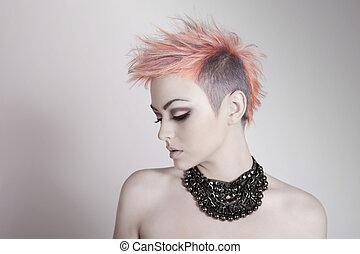 прическа, женщина, панк, молодой, привлекательный