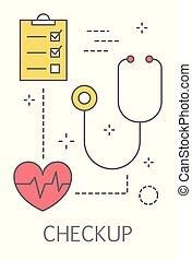 проверить, концепция, здоровье, иллюстрация