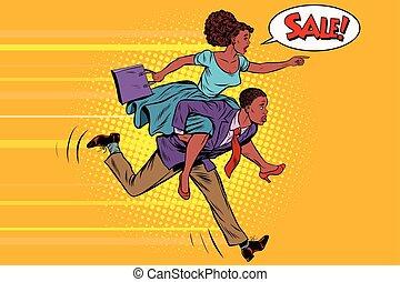 продажа, жена, верховая езда, муж, runs