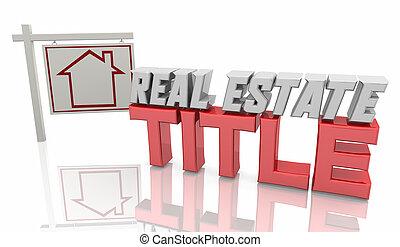 продажа, имущество, имущество, реальный, оказание услуг, заглавие, закрытие, 3d, главная, продан, иллюстрация, дом