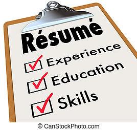 продолжить, навыки, контрольный список, qualifications, опыт, буфер обмена, образование