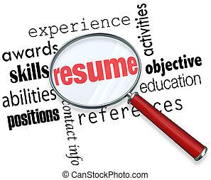 продолжить, опыт, стакан, работа, подать заявление, документ, увеличительный