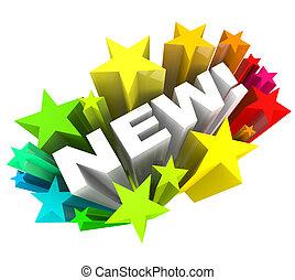 продукт, слово, announcing, марка, улучшение, число звезд:, новый, или