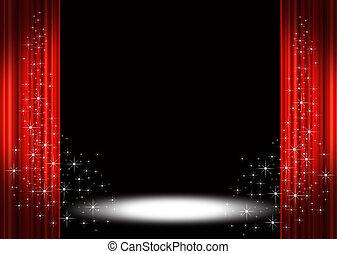 прожектор, сцена