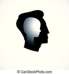происхождения, profile, индивидуальность, problems., психология, глава, мальчик, концепция, психический, created, немного, внутри, вектор, inner, человек, ребенок, логотип, психотерапия, психоанализ, concept., человек