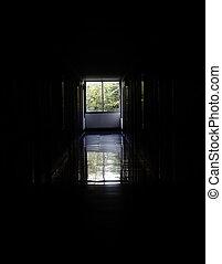 промышленные, конец, заброшенный, коридор, туннель, свобода, длинный, ruined, концепция, haunted, путь, легкий, building., или, tunnel.