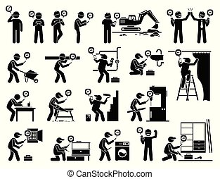 промышленные, мобильный, приложение, работник, строительство, с помощью, smartphone.