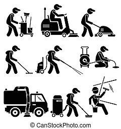 промышленные, cliparts, работник, уборка