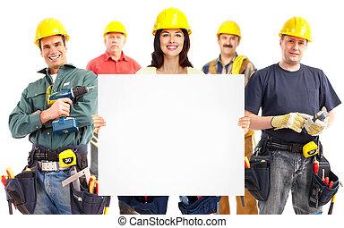 промышленные, workers., женщина, группа, подрядчик
