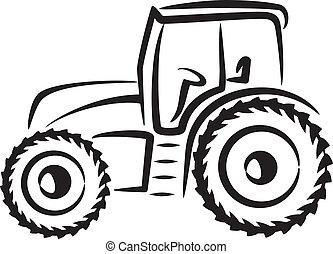 просто, иллюстрация, трактор
