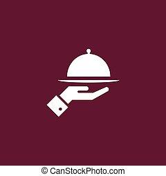 просто, лоток, еда, иллюстрация, значок