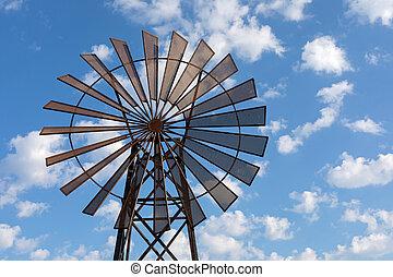 против, ветряная мельница, небо, синий