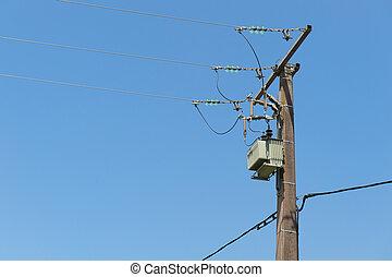 против, синий, небо, столб, электричество