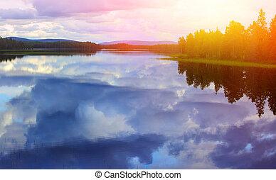 против, синий, озеро, небо, clouds, отражение, спокойный, белый