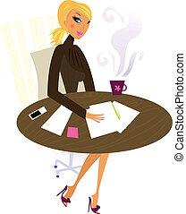 профессиональный, женщина, работа, офис