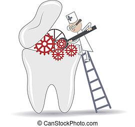 процедура, зубоврачебный, иллюстрация, зуб, лечение, концептуальный, абстрактные