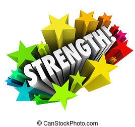 прочность, слово, способность, преимущество, конкурентоспособный, число звезд:, сильный