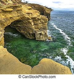 прочный, пещера, тихий океан, bordering, утес