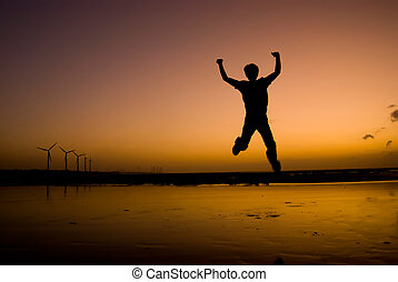 прыгать, закат солнца, под, пляж, в восторге, человек