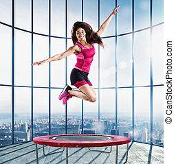 прыгать, учитель, гимнастический зал, фитнес, современное