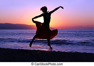 прыжки, закат солнца