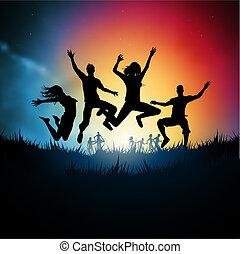 прыжки, молодой, adults