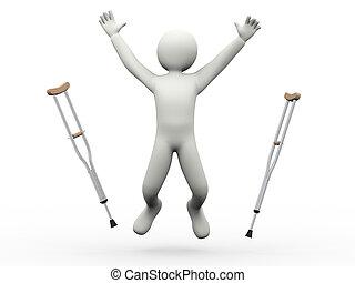 прыжки, crutches, 3d, человек, бросание, счастливый