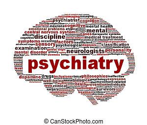 психиатрия, медицинская, белый, символ, isolated