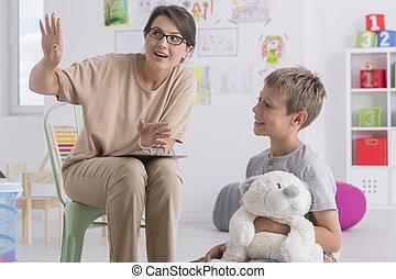 психотерапевт, в течение, мальчик, посещение