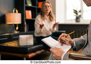 психотерапевт, принятие, пациент, notes, прослушивание