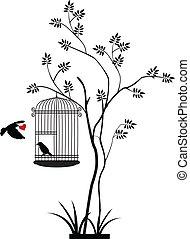 птица, летающий, силуэт, дерево