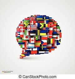 пузырь, речь, flags, форма, мир