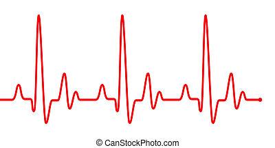 пульс, сердце, линия, бить, white., красный