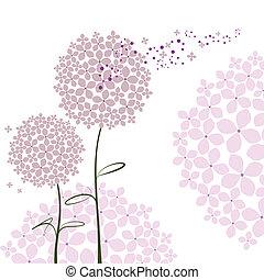 пурпурный, абстрактные, цветок, гортензия, весна