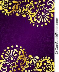 пурпурный, задний план, филигрань, золото, вертикальный