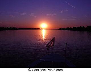 пурпурный, закат солнца