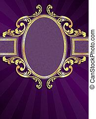 пурпурный, золото, вертикальный, метка