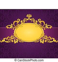 пурпурный, рамка, золото, задний план