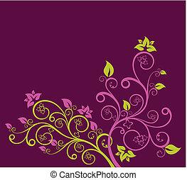 пурпурный, цветочный, вектор, зеленый, иллюстрация