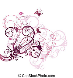 пурпурный, цветочный, угол, дизайн, элемент